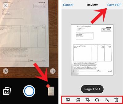 scan tai lieu sang pdf tren iphone