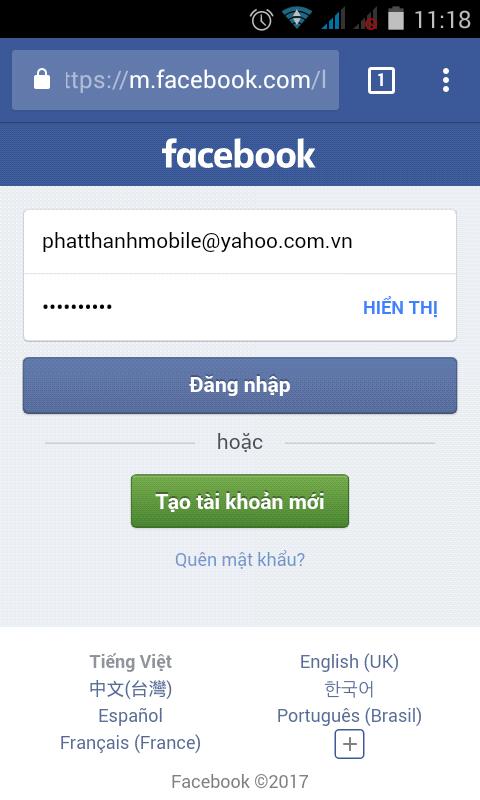 Đăng nhập Facebook bằng trình duyệt Chrome