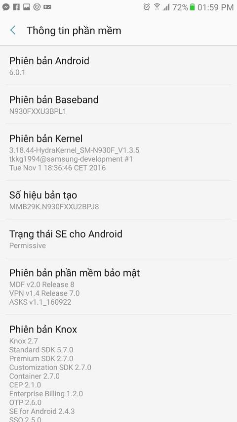 Ấn và giữ mục Phiên bản Android