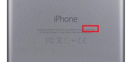 Mã model nằm ở mặt sau của iPhone