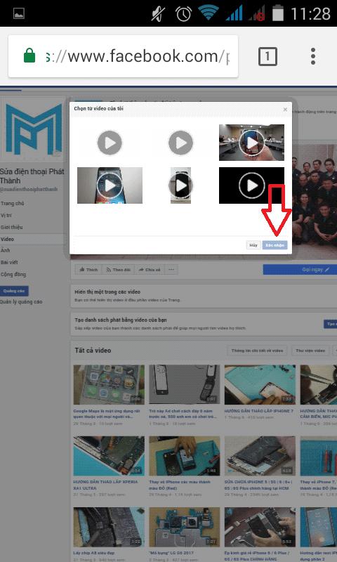 Chọn video và ấn Xác nhận để hoàn tất việc đặt video làm ảnh bìa Fanpage